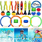 VAMEI Underwater Swimming Diving Pool Toy Rings 4pcs,and Torpedo Bandits 4 pcs,Floating Streamers Sinking Fun Balls 3pcs,Diving Gemstones 6pcs Sets Under Water Games Toy Training Gift for Boys Girls