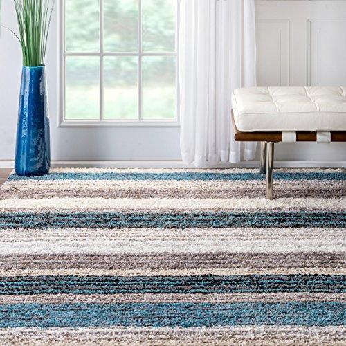 - nuLOOM Classie Solid Shag Rug, 5' x 8', Blue Multi