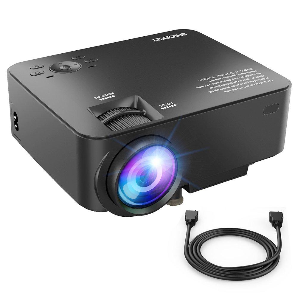 SPACEKEY Mini Portable Projector Multimedia Home Theater Video Projector Support 1080P HDMI, USB, VGA, AV Ports Home Cinema, Black