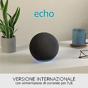 Nuovo Echo (4ª generazione), versione internazionale - Audio di alta qualità, hub per la Casa Intelligente e Alexa - Antracite