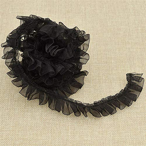 (Vintage Pleated Edge Chiffon Ruffle Lace Trims Nylon Ribbon 2.5cm Width Crafts (Color - Black))