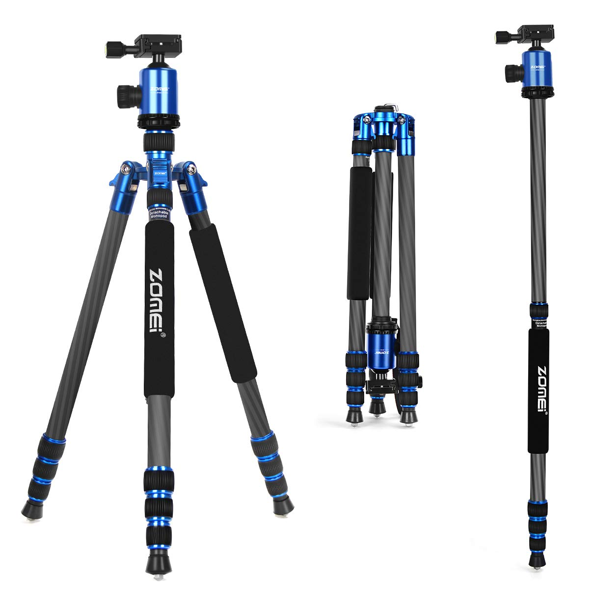 ZoMei Carbon Fiber Tripod,Tripod for Camera,66.5'' Camera Tripod Monopod with 360 Degree Ball Head and Quick Release Plate,Load up to 33 pounds for DSLR Cameras (Blue) by ZoMei