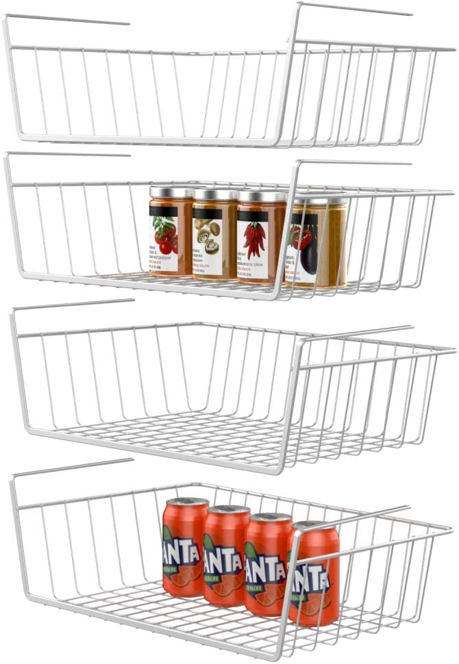 GSlife Under Shelf Basket, 4 Packs Under Shelf Wire Basket Stable Under Cabinet Basket Wire Storage Basket for Kitchen Office Pantry Bathroom, White