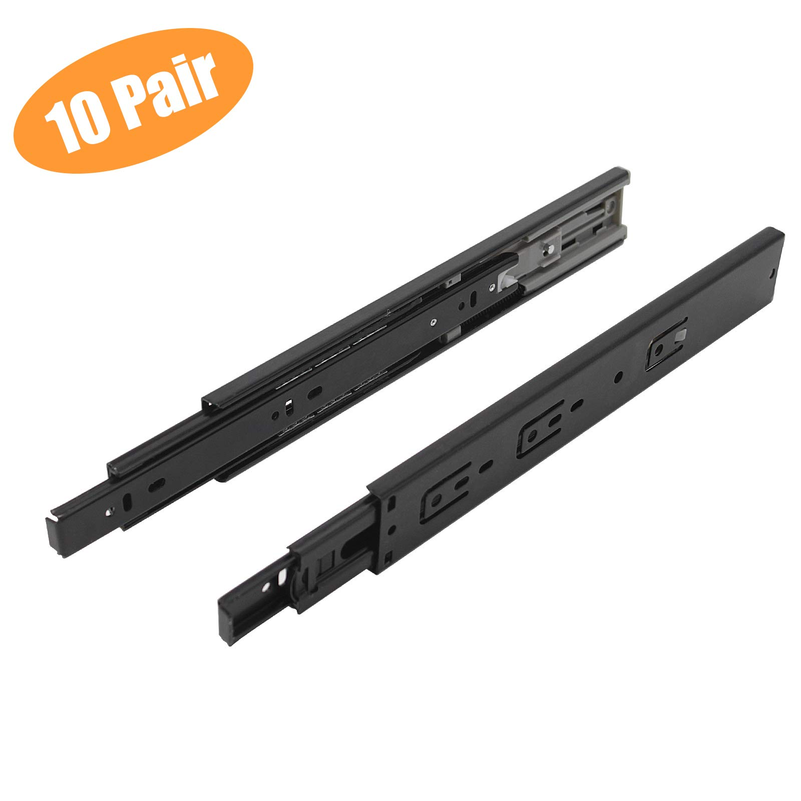 Probrico 10 Pair of 12 Inch Hardware Ball Bearing Side Mount Drawer Slides, Full Extension, Available in 12'',14'',16'',18'',20'',22'', 24'' Lengths by Probrico (Image #1)