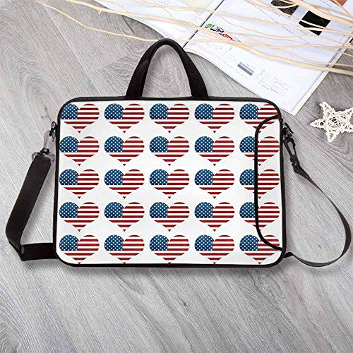- American Flag Decor Neoprene Laptop Bag,Heart Figures with Flag Idol Patriot Pattern Modern American Day Graphic Laptop Bag for Office Worker Students,13.8