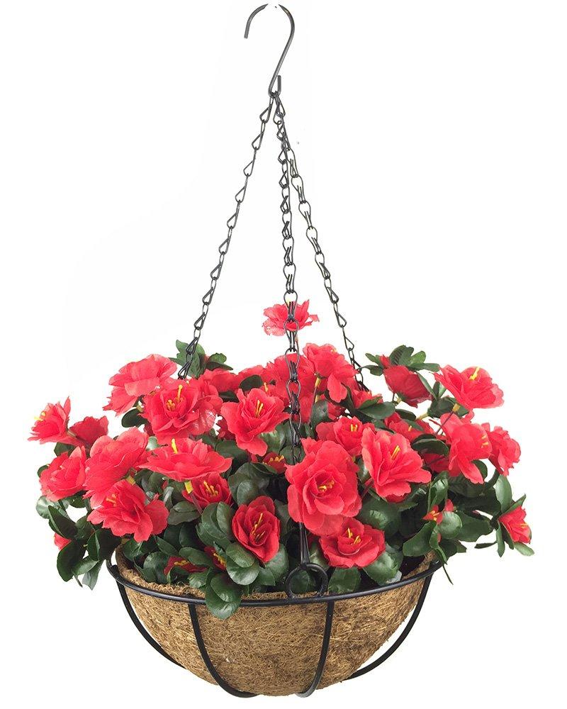 silk flower arrangements lopkey outdoor artificial red azalea bush flower patio lawn garden hanging basket with chain flowerpot,red