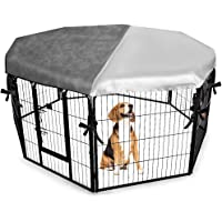 EXPAWLORER Dog Crate Cover for Outdoor and Indoor- Half Mesh Half Shaded Type Light Blocking Breathable Shade Kennel…