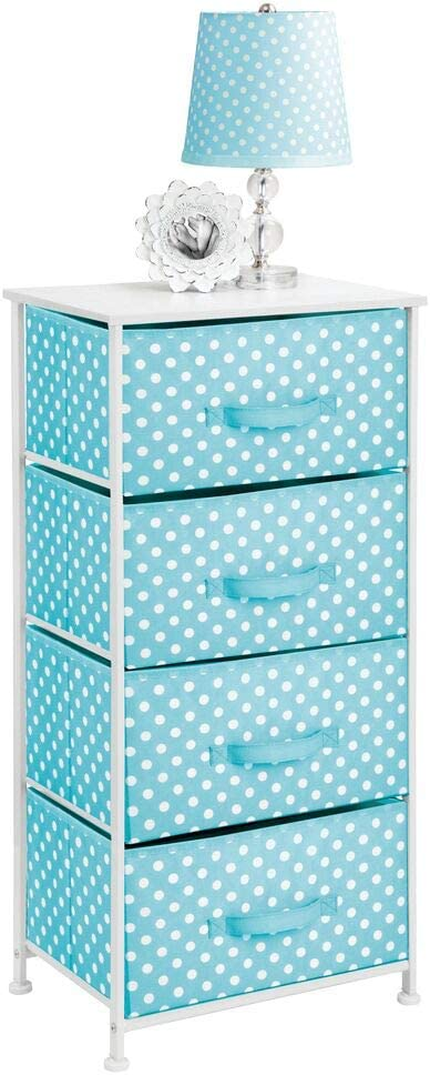 mDesign 4-Drawer Vertical Dresser Storage Tower - Sturdy Steel Frame, Wood Top and Easy Pull Fabric Bins, Multi-Bin Organizer Unit for Child/Kids Bedroom or Nursery - Turquoise Blue/White Polka Dots
