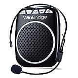 WinBridge WB001 Ultralight Portable Voice Amplifier Waist Support MP3 Format Audio for Tour Guides, Teachers, Coaches, Presentations, Costumes, Etc.-Black