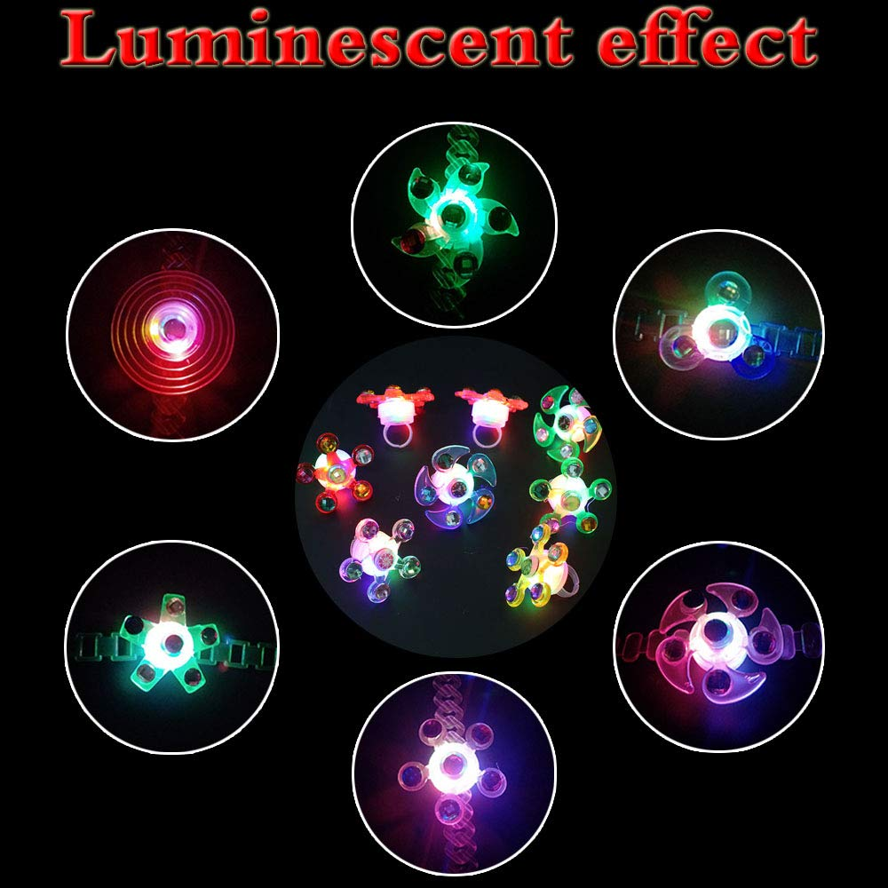 Party Favors for Kids Prizes 24 PCS Light Up Rings Glow In The Dark Party Supplies Bulk Hand Spin Stress Relief Anxiety Toys for Classroom Birthday Celebration