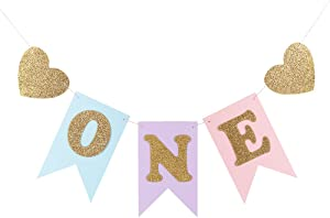 """LXZS-BH Blue and Pink 1st Birthday Banner, Glitter""""ONE"""" and Heart Shapes, for Baby Girl, Baby Shower, High Chair Decoration, Wall Decor"""