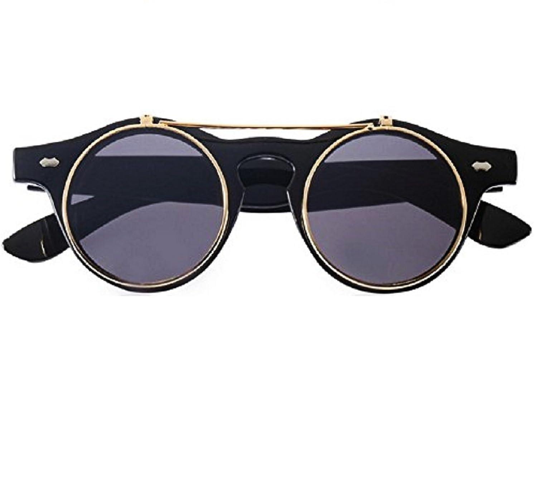 Gafas de sol redondos steampunk flip up doble lente hipster ...