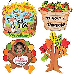 Thanksgiving & Autumn Craft Kits | Thankful for Friends Sign Kit, Bushel of Thanks Apple Basket Kit, Turkey Picture Frame Magnet & Standing Tree of Thanks | Kids Family Holiday Activities Gift Set