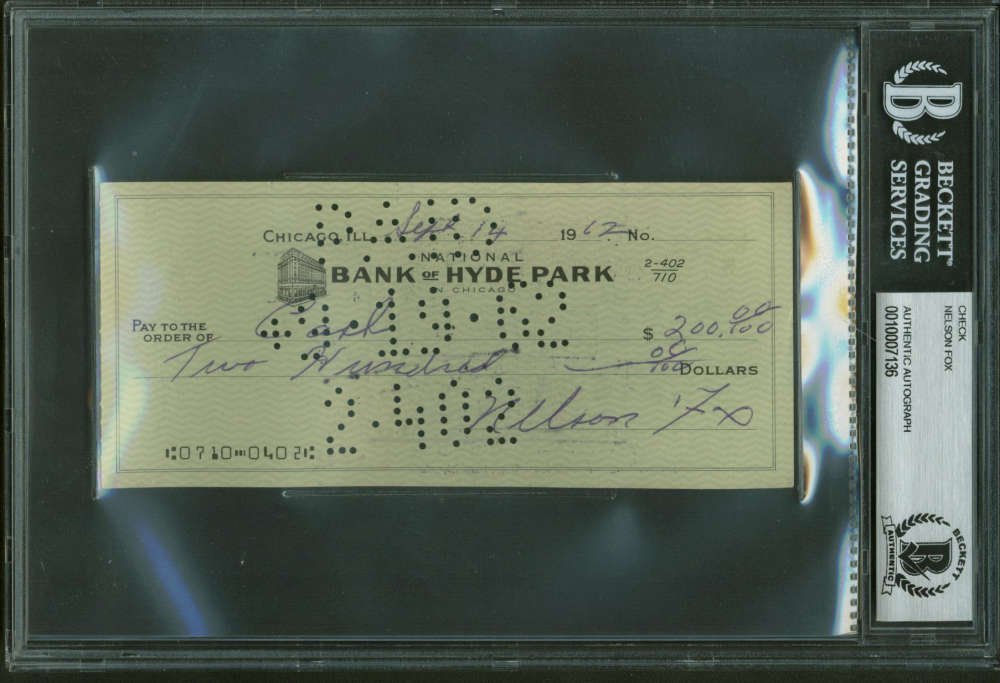 Nellie Nelson Fox Signed Autographed Hand Written 1962 Bank Check Beckett BAS
