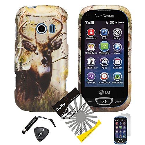 (3 items Combo: Stylus Pen + Case Opener + Design Rubberized Snap on Hard Shell Cover Phone Case for LG Extravert 2 VN280 (Deer Tree Camouflage))