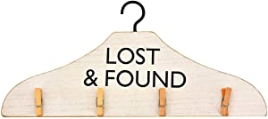 Parisloft Lost&Found Wooden Laundry Hanger with 4 Clips Indoor Dry Dryer for Socks or Card Display Sign Decor