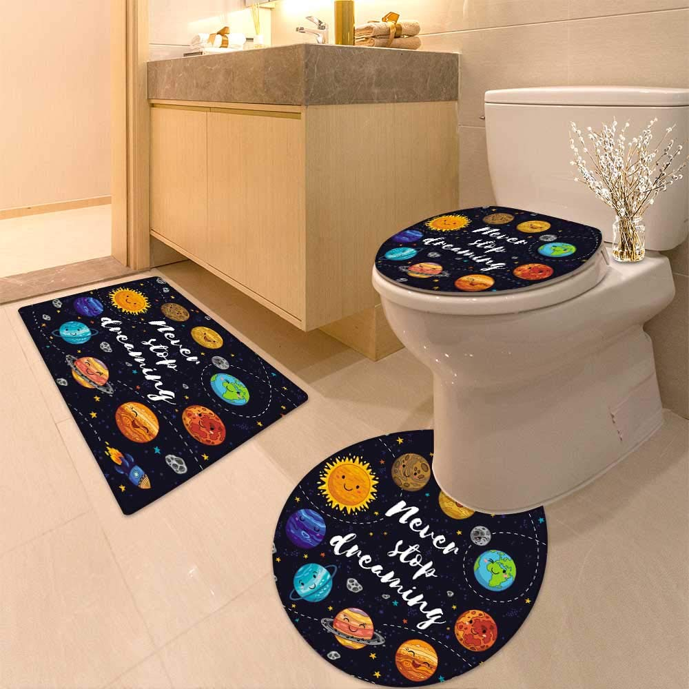 HuaWuhome 3 Piece Toilet mat Set Quotes Cute Outer Planets and Star Cluster Solar System Moon andComets Sun Cosmos Multi Printed