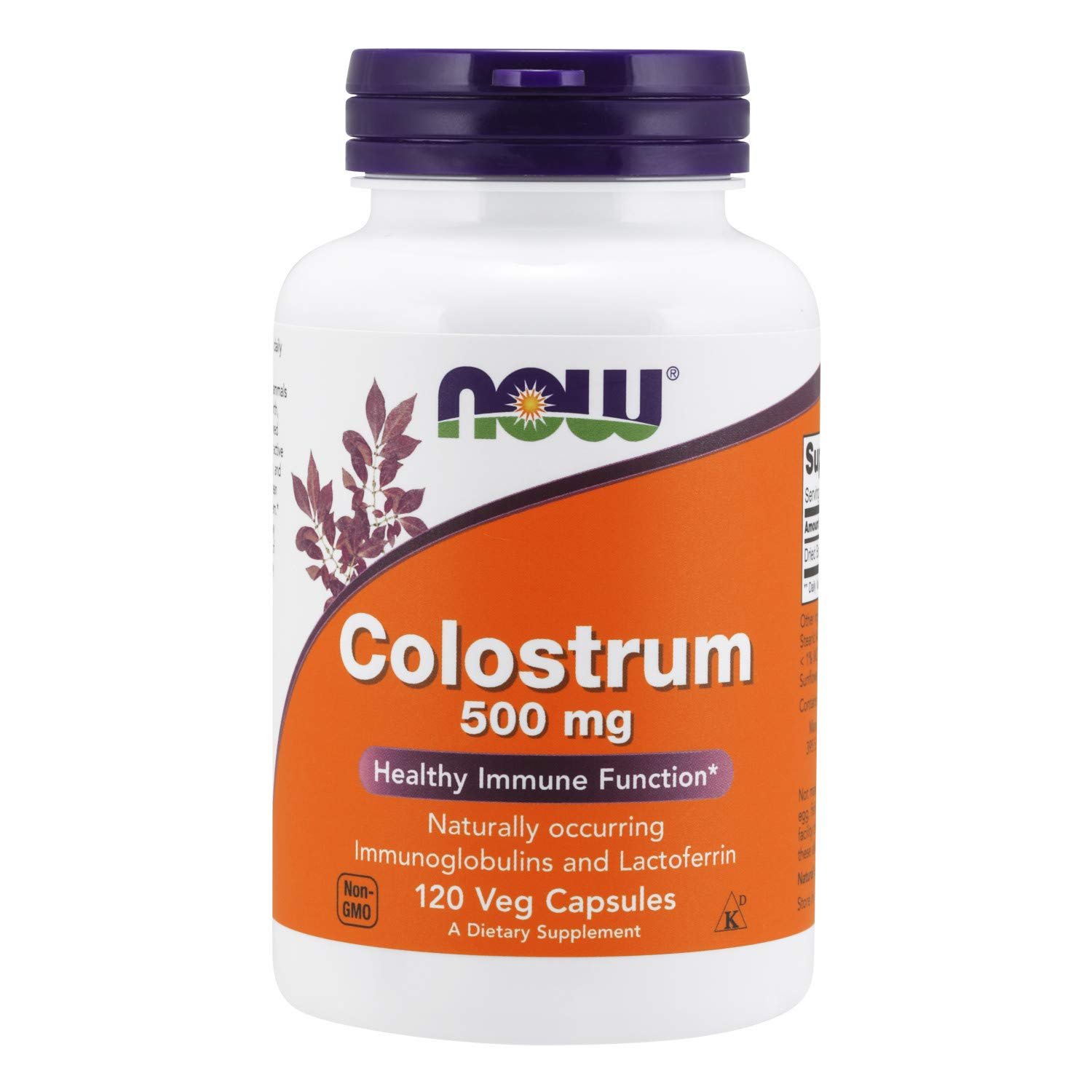 NOW Supplements, Colostrum 500 mg, Naturally occurring Immunoglobulins and Lactoferrin, 120 Veg Capsules