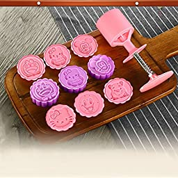 Newest Pink Moon Cake Decoration Mold Mould 50g Cartoon Animal Round 6 Stamps cookie cutter mold Mid Autumn Festival DIY Tool