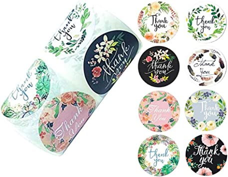 Amazon Com 2 Inch Round Floral Thank You Stickers With 8 Colors Classy Retro Sticker For Bags Boxes Tissue Canning Ideal For Crafters Online Sales 500 Labels Per Roll Office Products