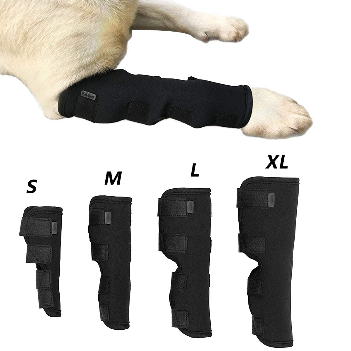 CHICTRY Dog Canine Rear Leg Hock Joint Brace Compression Wrap Extra Support Protects Wounds Heal Prevents Injuries and Sprains Helps with Stability Loss Caused by Arthritis Black M
