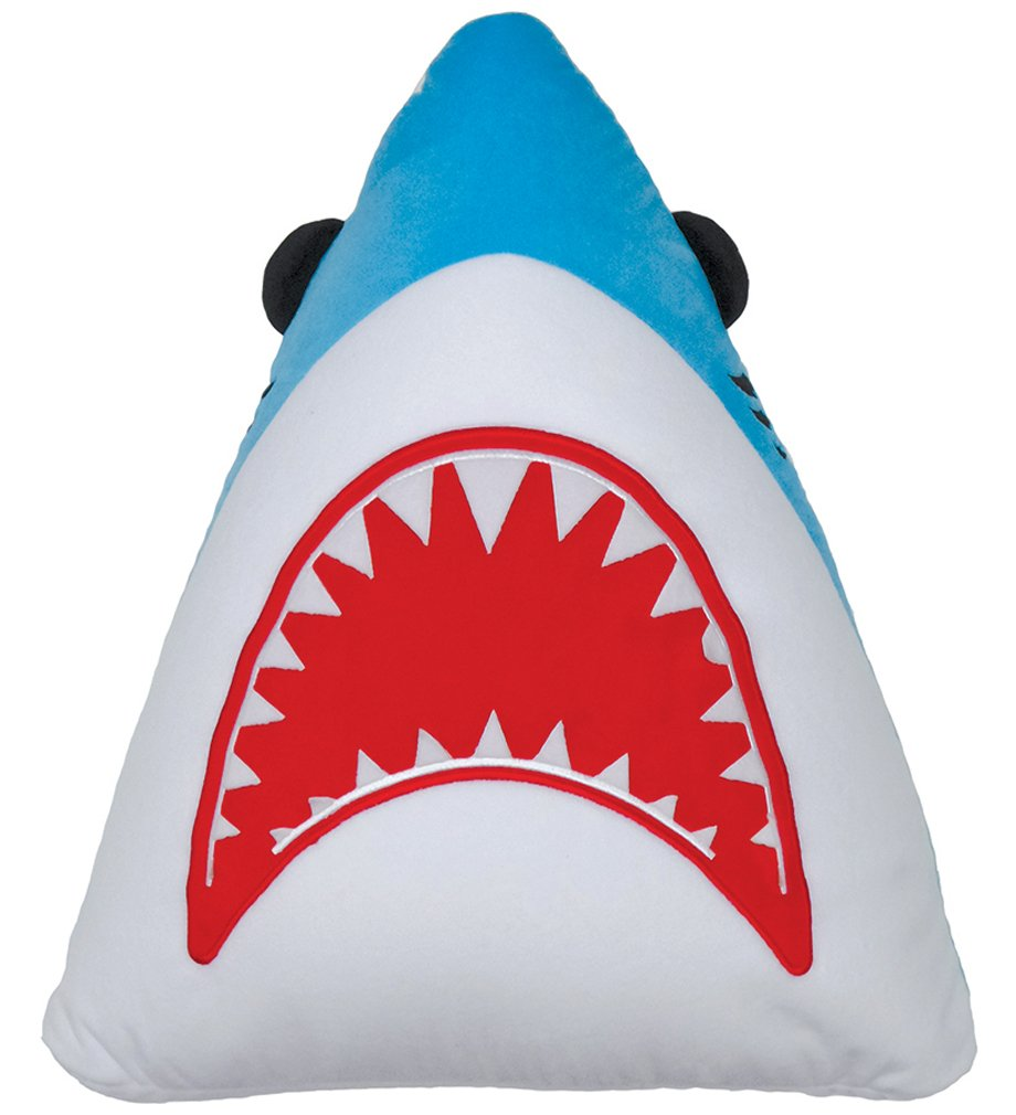 iscream Shark Attack! Embroidered Fleece 20'' x 18'' Microbead Accent Pillow