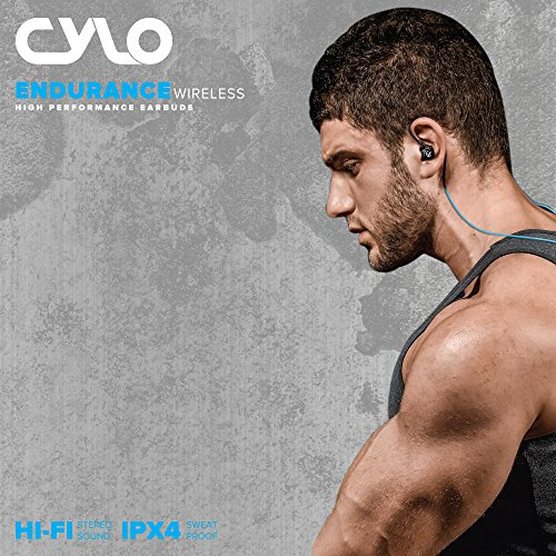 hot sale 2017 CYLO Endurance Wireless Bluetooth 4.0 In-Ear, Over-Ear Earbuds/Earphones/Headphones, Secure Ergonomic Fit for Running, IPX4 Sweat-proof, In-Line Microphone and Remote and Audio (Blue)
