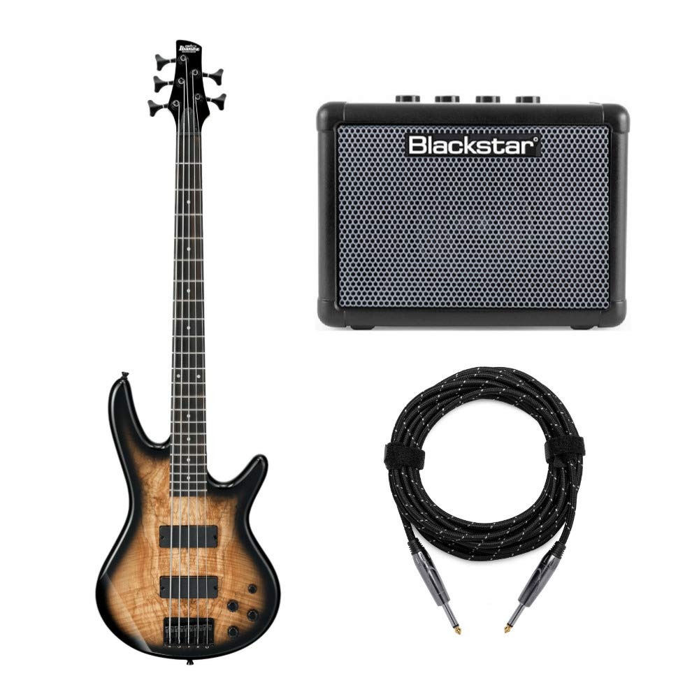 Ibanez 5-String Bass Guitar (GSR205SM) with FLY3 Bass Amp and Knox Guitar Cable (3 Items)