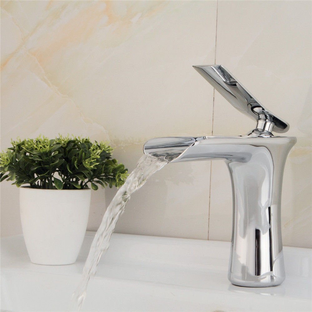 A S.Twl.E Sink Mixer Tap Faucet Bathroom Kitchen Basin Tap Leakproof Save Water All chrome plated brass water fall Faucet quartet decent pots hot and cold water Faucet A