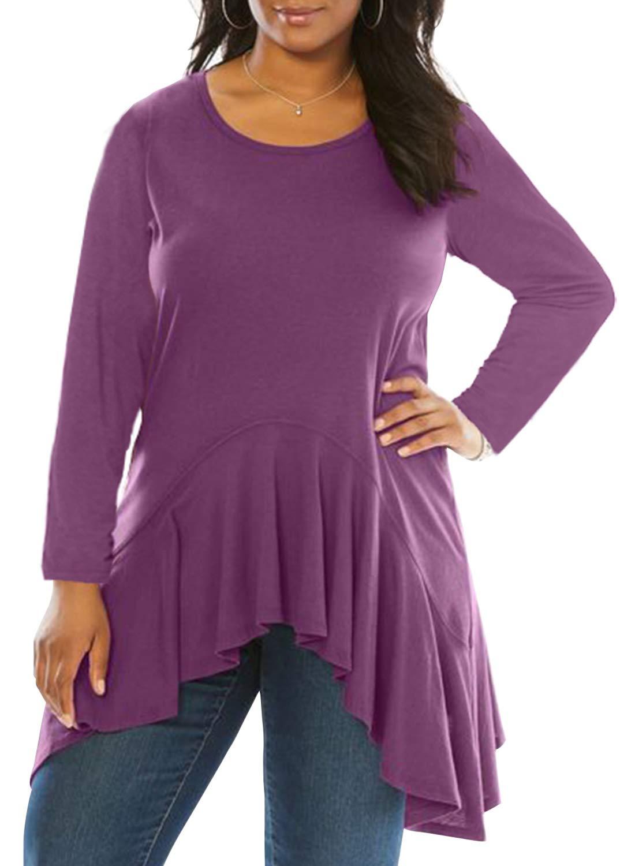 Dearlove Women Plus Size Long Sleeve Scoop Neck Ruffle Hem Casual Swing Tunic Loose Blouse Tops T Shirt Soild Purple XL