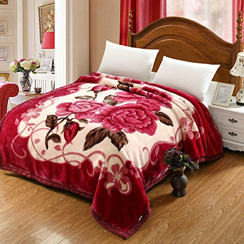 Znzbzt Wedding red blanket thick-pile carpet in winter cover wedding celebration red double blanket ,180X220-6 catty, rubber red by Znzbzt