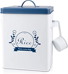 DAILYLIFE Square Metal Rice Flour Food Sundries Kitchen Storage Tin Canister Bucket Containers White