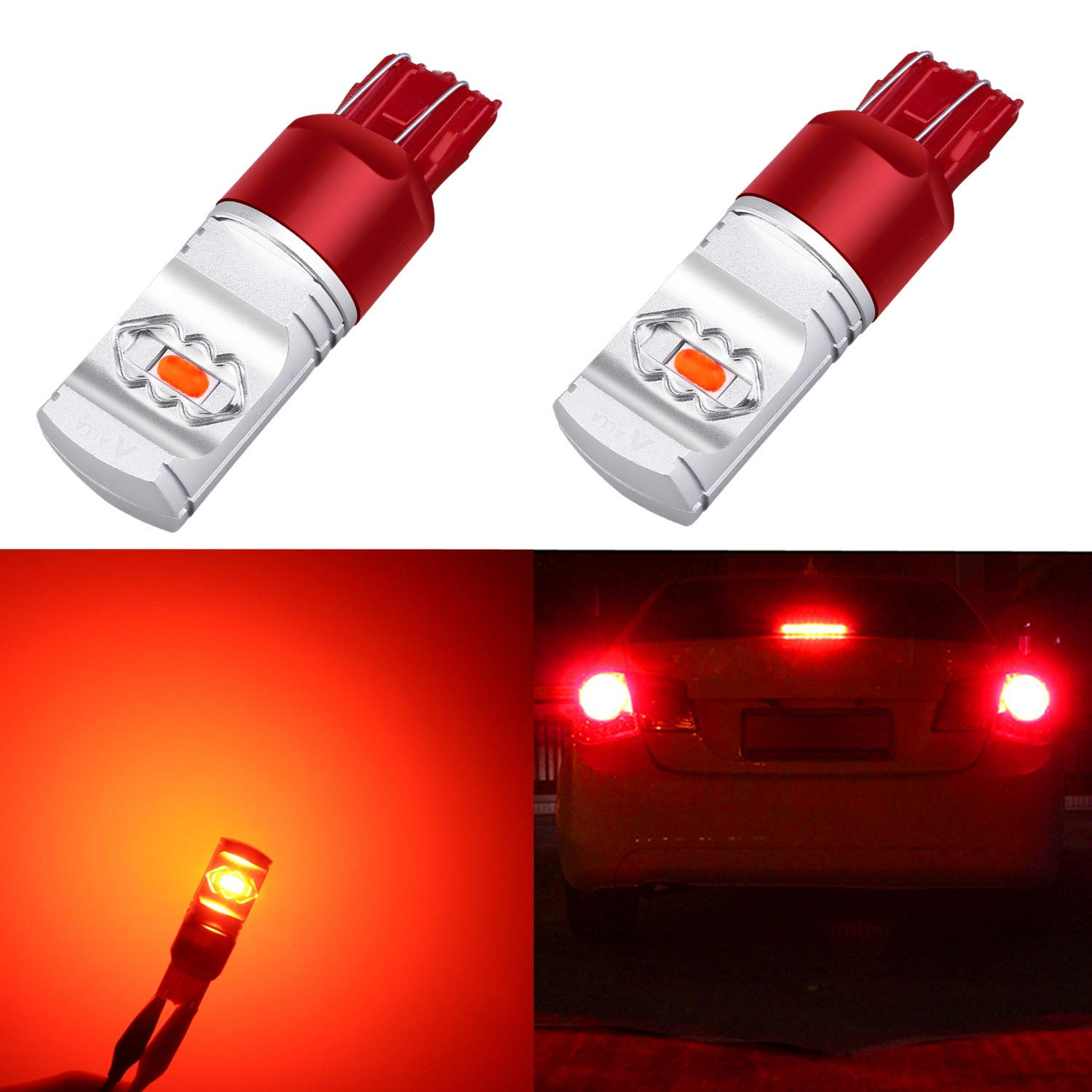 Alla Lighting 3800lm Xtreme Super Bright T20 7440 7443 Red LED Bulbs High Power ETI 56-SMD LED 7443 Bulbs 7441 7444 W21W LED Turn Signal Brake Stop Tail Light (Set of 2) by Alla Lighting