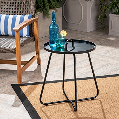 Great Deal Furniture Amy Outdoor Aluminum Side Table, Matte Black by Great Deal Furniture