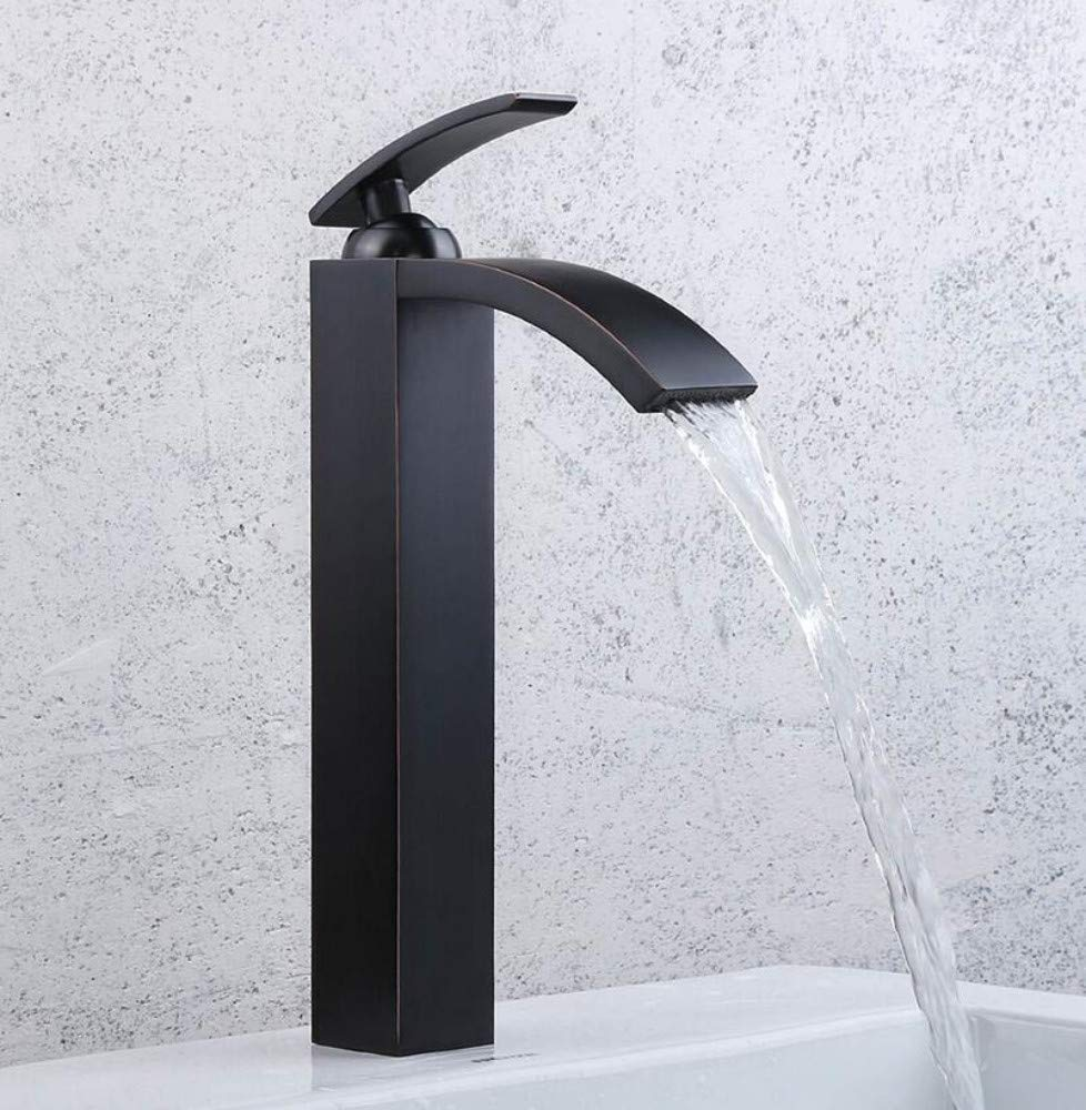 Bathroom Faucet Oil Rubbed Bronze Bathroom Faucets Tall Basin Faucets Black Sink Taps Square Single Handle Deck Mounted Basin Faucets