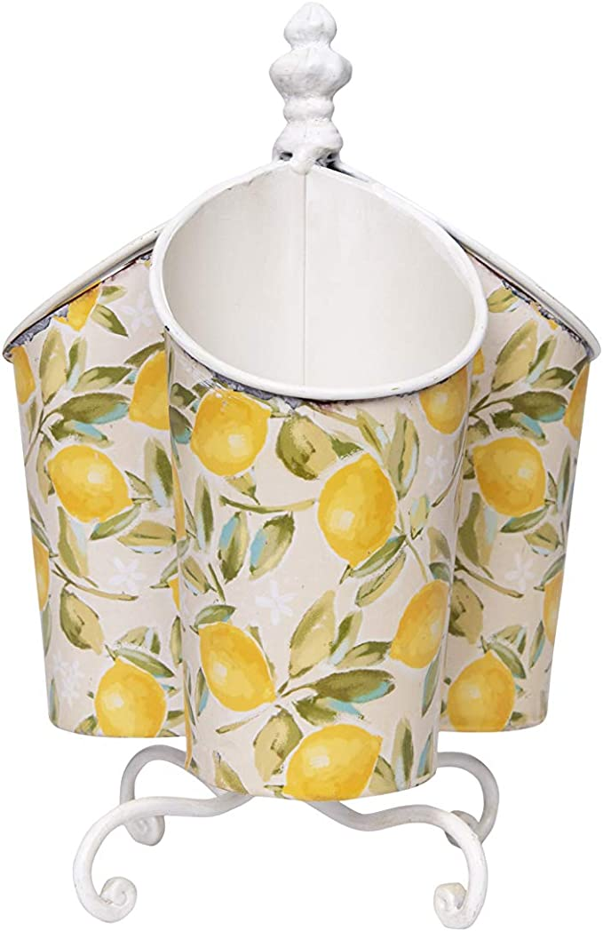 Creative Co-op Metal Rotating Lemon Design & 3 Compartments Utensil Holder, Yellow
