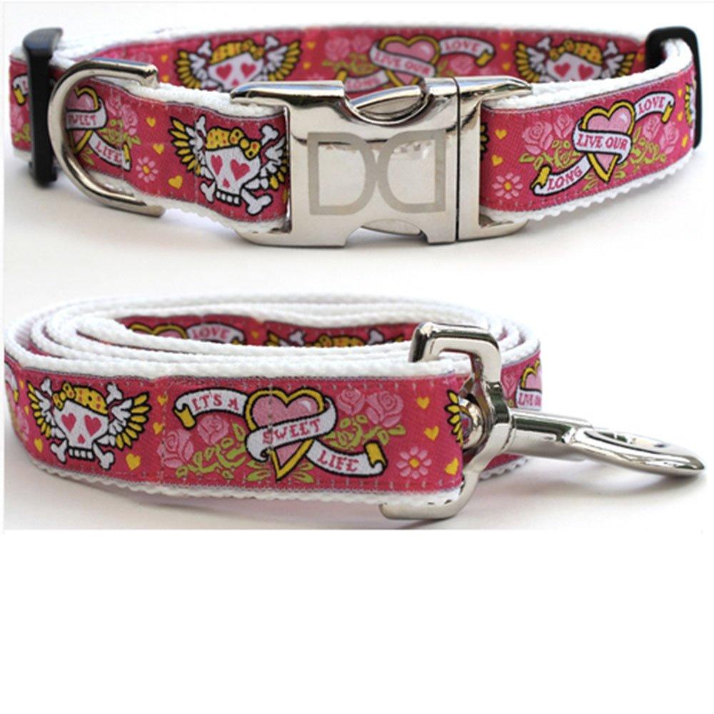 Diva-Dog 8706927 Wild One Pink Medium-Large, Collar & Leash