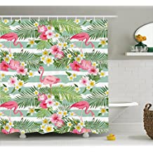 Flamingo Decor Shower Curtain Set by Ambesonne, Flamingos with Exotic Hawaiian Leaves and Flowers on Striped Vintage Background, Bathroom Accessories, 84 Inches Extralong, Green Pink White