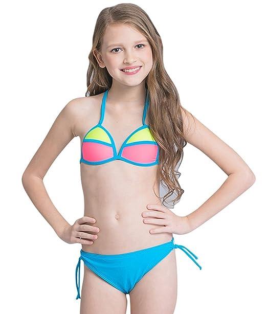 5254d5de1b Tortor 1Bacha Kid Girls' Neon Color Block 2 Piece Halter Triangle Bikini  Swimsuit Blue 4