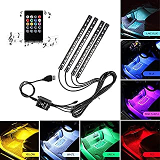 Sale Car LED Strip Light Multicolor Music Car Interior Lights RGB Under Dash Decorative Lighting Waterproof Kit With Sound Active Function and Wireless Remote Control 4pcs 48LED DC 12V (USB Port)