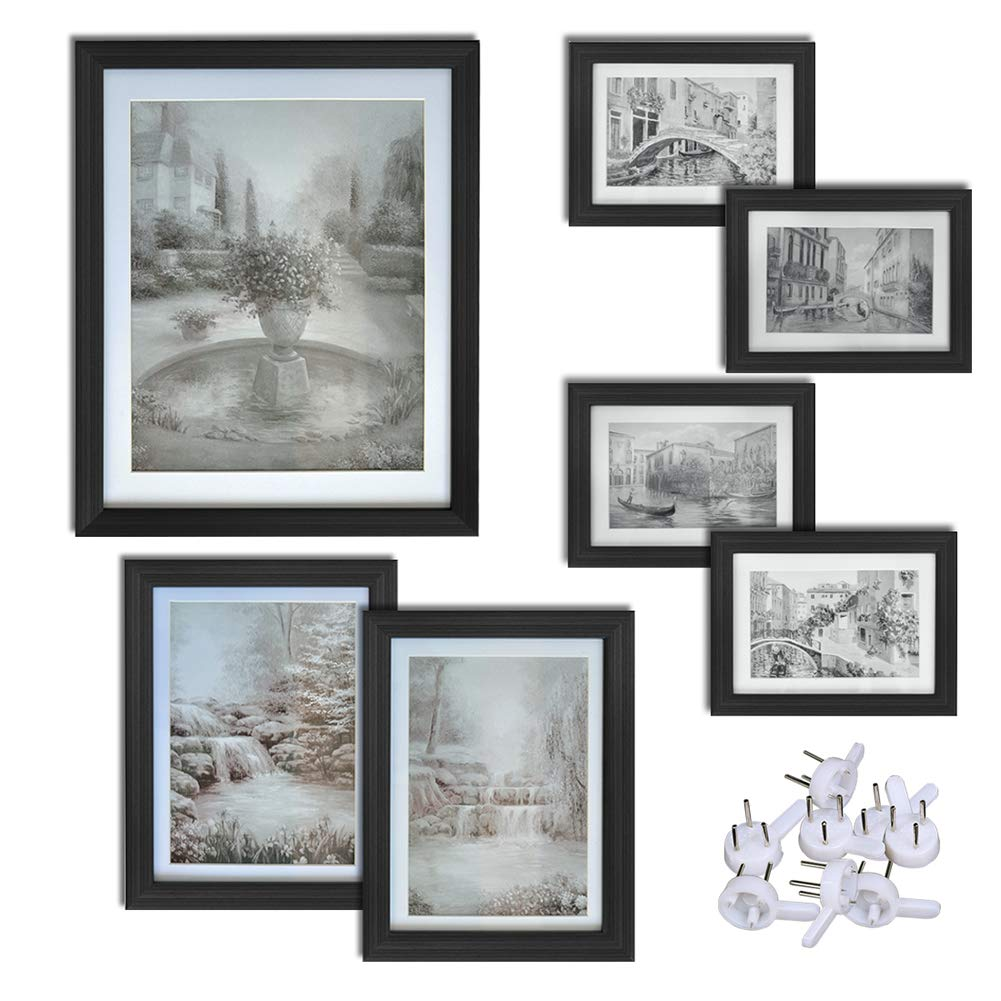 Giftgarden Black Picture Frames Set Wall Gallery Frame Kit, 7 PCS, four 4x6 two 5x7 one 8x10