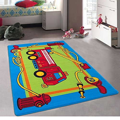 Trucks Fun Rug - Champion Rugs Kids / Baby Room / Daycare / Classroom / Playroom Area Rug. Fire Station. Fire Engine. Truck. Educational. Fun. Non-Slip Gel Back. Bright Colorful Vibrant Colors (5 Feet x 7 Feet)