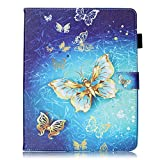 Apple iPad 2 / iPad 3 / iPad 4 Case [with Free Earphone], Billionn 3D glitter PU Leather Flip Cover Shell Wallet Slim Stand Protective Cover for Apple iPad 2 / iPad 3 / iPad 4 (Gold butterfly)
