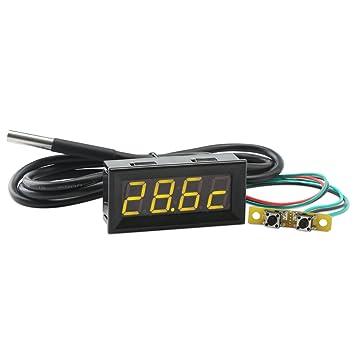 """Droking Multímetro Digital, 0.56"""" Amarillo LED Coche Voltímetro Reloj Termómetro con 18B20 Sensor sonda"""