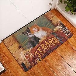 Homing New Arrive Rectangle Light Door Mats Cute Cartoon Kitten Cats Printed Carpets Anti Slip Modern Kitchen Rugs Home Decor 5