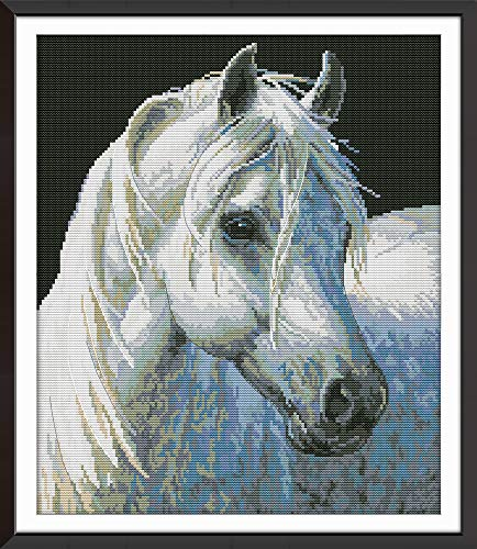 DIY Cross-Stitching with Pre-Printed Patterns for Beginner Kids Adults Cross Stitch Stamped Kits, Embroidery Crafts Needlepoint Starter Kits, White Horse