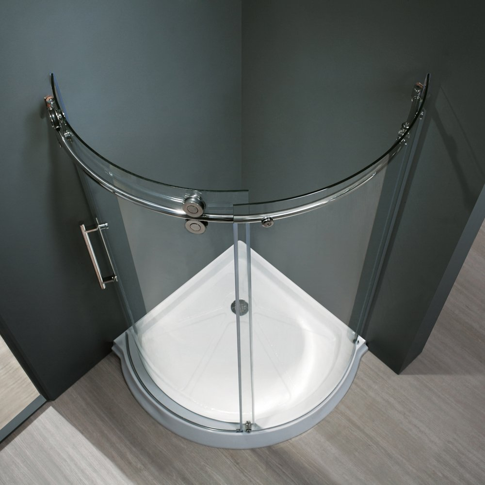 Frameless Round Sliding Shower Enclosure With .3125 In. Clear Glass And  Chrome Hardware (Left Sided Door) (Shower Base Included)   One Piece Tub  And Shower ...