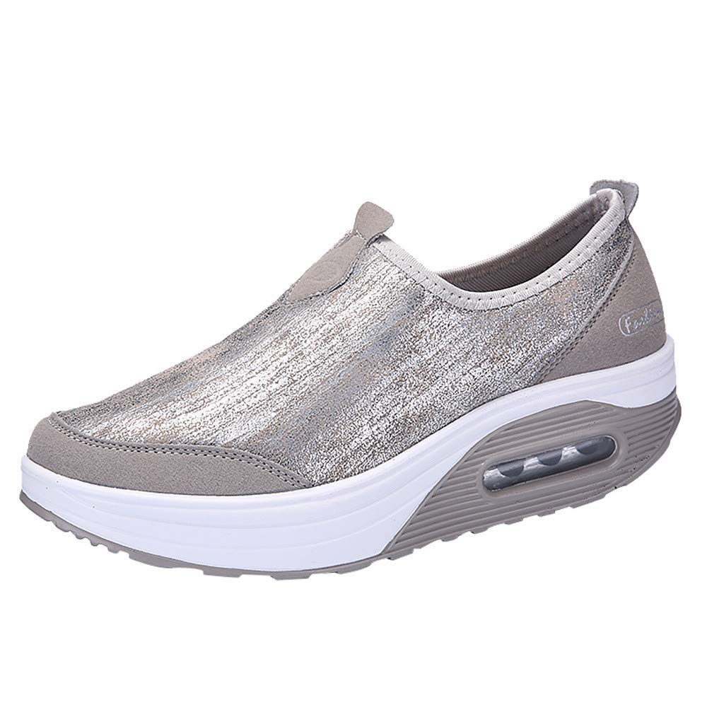 Claystyle Women Outdoor Mesh Casual Sports Shoes Thick-Soled Air Cushion Shoes Sneakers(Gray,US: 6.5)