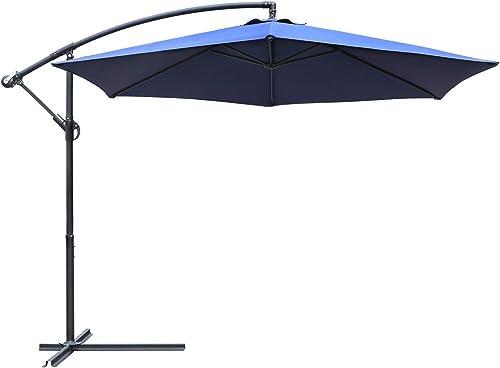 Greesum Offset Umbrella 10FT Cantilever Patio Hanging Umbrella Outdoor Market Umbrella