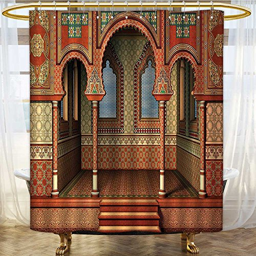 AmaPark Washable Fabric Shower Curtain Middle East Oriental Inner Palace Islamic Art Design Gen Red Washable Bathroom 36 x 72 inches by AmaPark